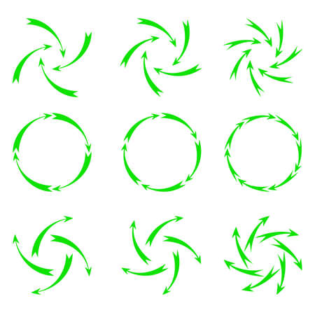 towards: Vector illustration. green arrows. Located in the shape of a circle towards the center, radiating from the center.