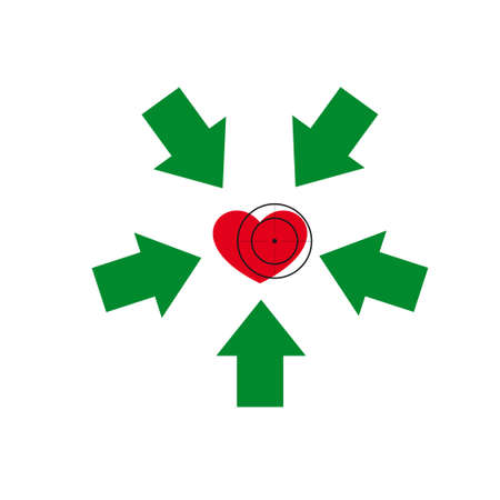 under heart: Vector illustration. The emblem, logo. Heart under a sight. Healthy lifestyle. Five arrows point to the heart.