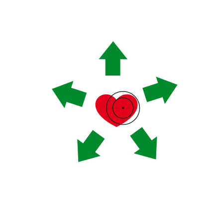 Vector illustration. The emblem, logo. Heart under a sight. Healthy lifestyle. Five arrows diverge from the heart. Illustration