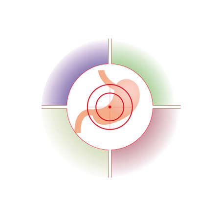 health threat: Vector illustration. The emblem, logo. Stomach at gunpoint. Four zones for the description. Different colors.