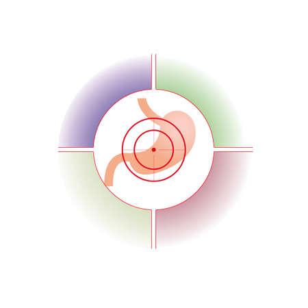 Vector illustration. The emblem, logo. Stomach at gunpoint. Four zones for the description. Different colors.