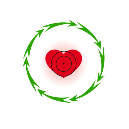 Vector illustration. Heart under a sight Different colors. Seven in a circle of arrows