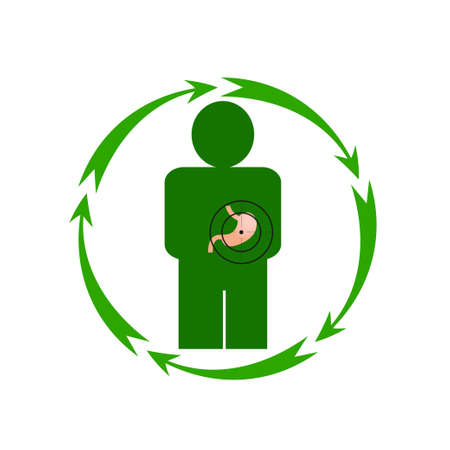 health threat: Vector illustration. The emblem, logo. The human stomach is in danger. Illustration