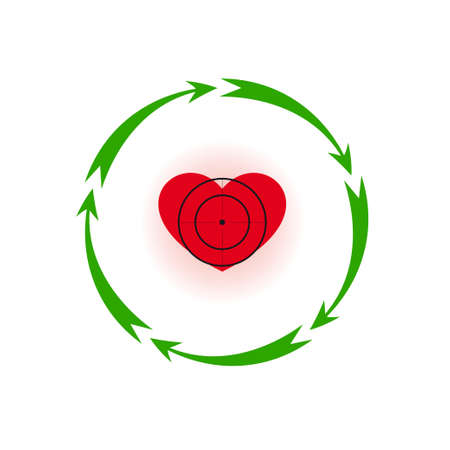 Vector illustration. Heart under a sight Different colors. Five in a circle of arrows Illustration