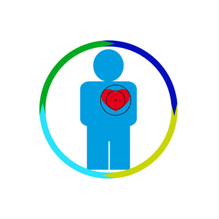 Vector illustration. The emblem, logo. The human heart at risk. Healthy lifestyle. human kontur.Chetyre section of a circle. Different colors.