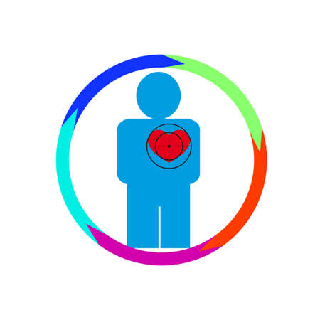 Vector illustration. The emblem, logo. The human heart at risk. Healthy lifestyle. human kontur.Five sections around. Different colors.