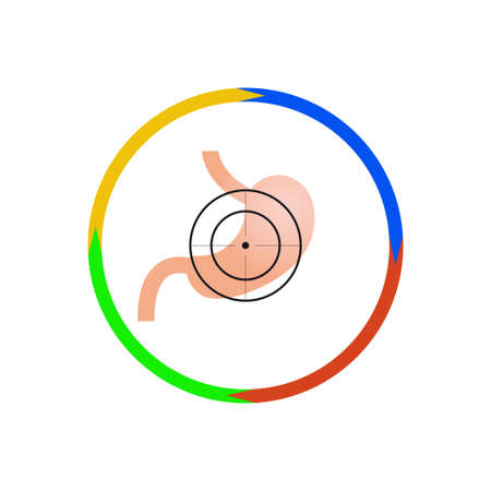 Vector illustration. The emblem, logo. Stomach at gunpoint. Outline circle of four colors. Different colors.