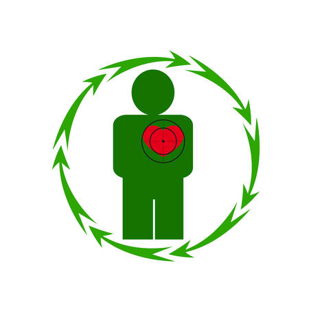 Vector illustration. The emblem, logo. The human heart is in danger. Healthy lifestyle. Human. Seven in a circle of arrows. Different colors.