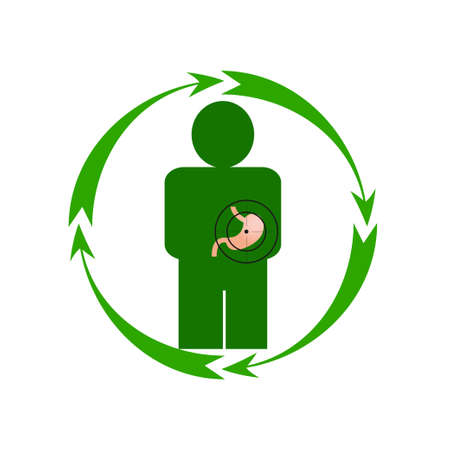 Vector illustration. The emblem, logo. The human stomach is in danger. Healthy lifestyle. Human. Four arrows around. Different colors. Illustration