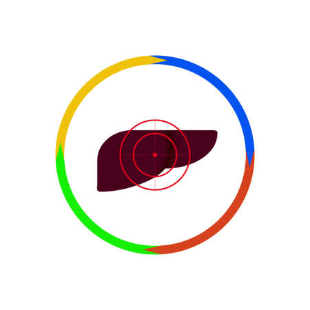 fact: Vector illustration. The emblem, logo. The liver is under the gun. Outline circle of four colors. Different colors Illustration