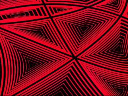 Ilustración vectorial Fondo abstracto. Formas concéntricas de volumen Polígonos rojos sobre un fondo negro.