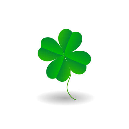 patrick: Four leaf clover icon. Green herb Isolated on white. St Patrick day vector. Flat design.