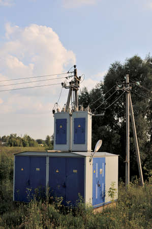 Energy industry background of confusing wiring of high-voltage transformer substation serving the power grid. Stok Fotoğraf