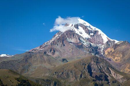 Mount Kazbek view from Stepantsminda in Georgia