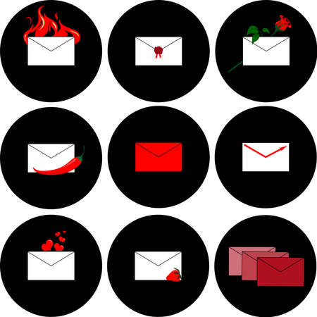 recipient: Icons for messages and mail on a black background. Vector illustration.