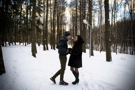couple winter: loving couple in winter Park Stock Photo