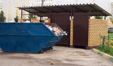 big bin: trash on the street in the city of Moscow.