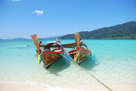 Two Asian albacore boat in paradise  thailand photo