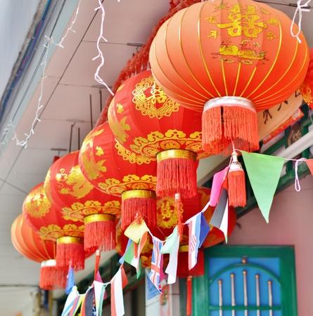 chinese lanterns: Visor house decorated with Chinese lanterns Stock Photo
