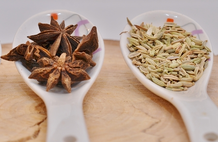 fennel seeds: Star anise and fennel seeds in a spoon on a white board