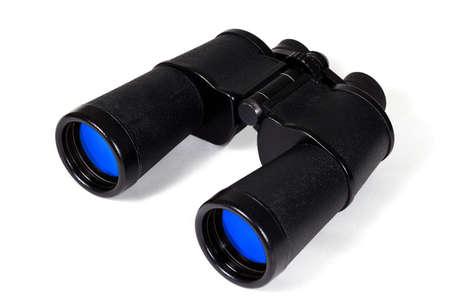 Vintage black binoculars isolated on white background