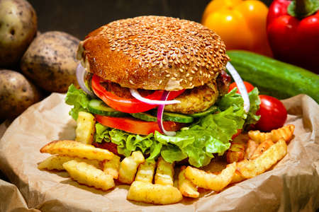 Big american burger with french fries. Fast food