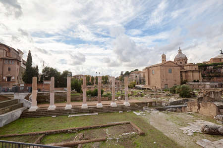 The archeological ruins in historic center of Rome Foto de archivo