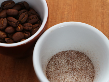 Coffee is soluble and in beans in a cup. Coffee in a cup without water. Just add water.