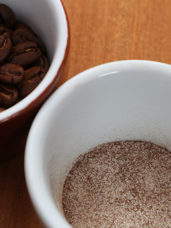 Coffee is soluble and in beans in a cup.