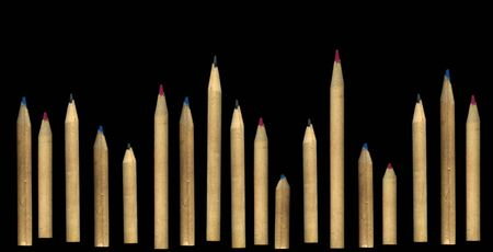 Solid pencils. Rhythm. Pencils lined up in length. The rhythm of size. Growth in size. Pencils