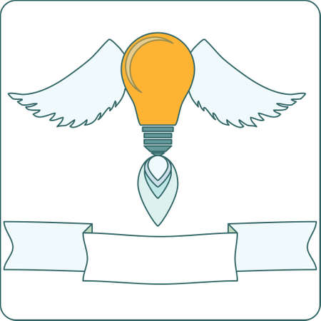 Light Bulb with Wings and Banner Vector