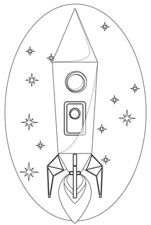 fictional: Rocket Flying in the Space among a Stars, Contour line Drawing. Vector