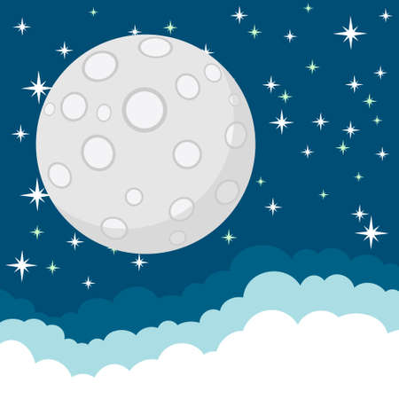 moonrise: Full Moon in the Starry Cosmic Dark Blue Sky with Space for Text