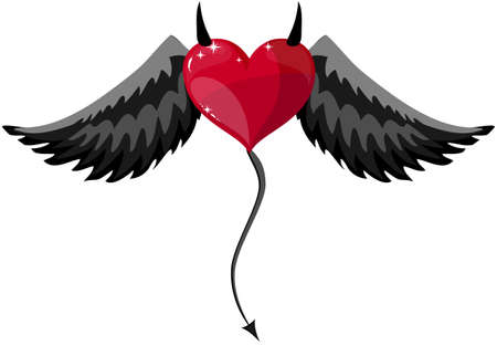 Devilish Red Heart With Black Horns, Wings And Tail At Halloween, Vector Illustration Vettoriali