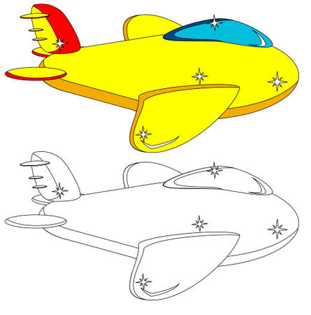 Color and Outline Version of the Aircraft. Vector. Vector