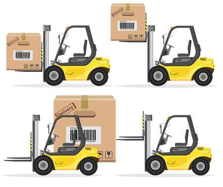 Cargador con la caja. Iconos de envío Set. Ilustración vectorial