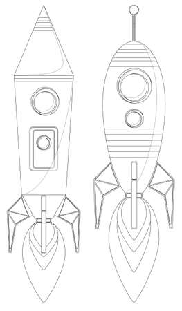 Rockets With Porthole And Flames From The Engine, Vector Vector