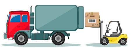 Truck and Loader with Box. Shipment Icons Set. Vector Vector