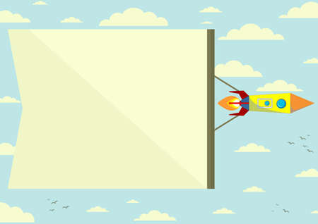 Vector Cosmic Rocket with the horizontal position of Banner. Color .Vector Illustrations Vector
