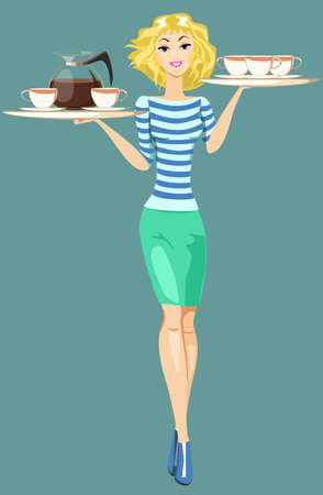 Girl Waitress Carrying a Tray With Cups Of Coffee And Tea Vector
