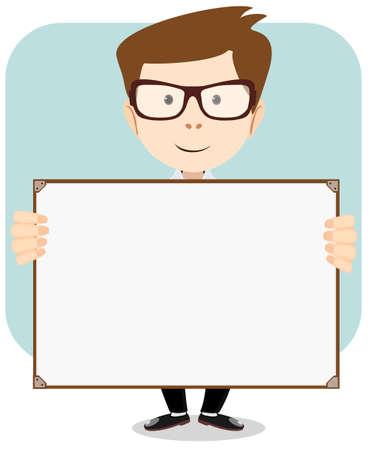 Karikatur-Geschäftsmann erklärt und zeigt auf leere weiße Tafel. Stock Vektor Illustration Standard-Bild - 32704292