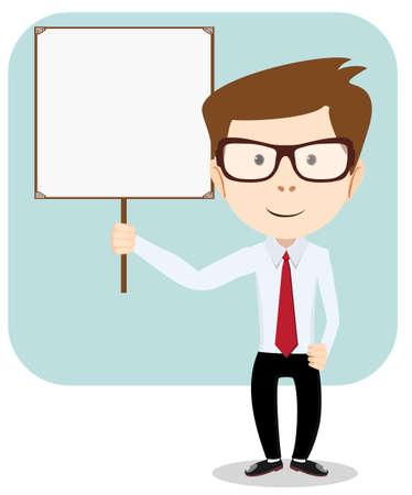 student university: Cartoon teacher explaining and pointing at blank white board, placard.. Stock Vector  Illustration Stock Photo