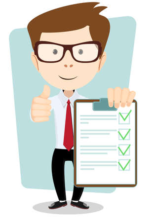 task list: Young Man Holding a Paper With Green Flags, Vector