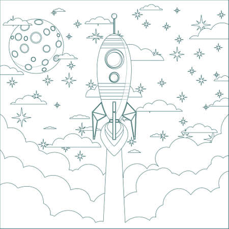 Cartoon Flying Rocket in the Sky.  Contour vector Vector
