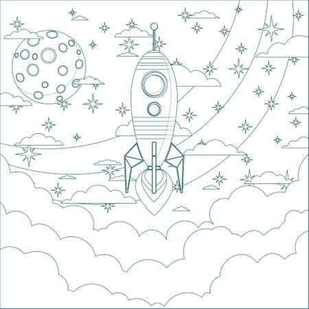Cartoon Flying Rocket in the Sky.  Contour vector Vector