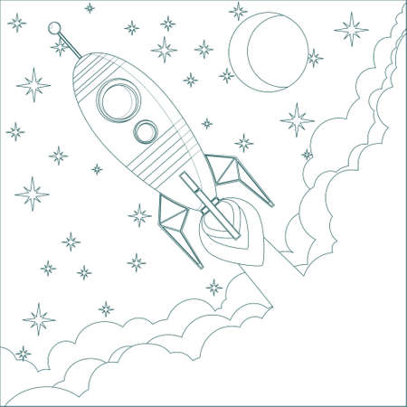 Cartoon Flying Rocket in the Sky with moon and stars.  Contour vector Vector