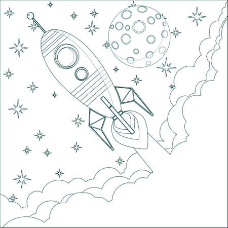 Cartoon Rocket , moon in sky with space for text Vector