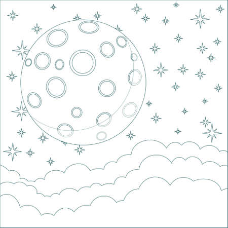 Illustration of a Cartoon moon with space for text in the clouds Vector