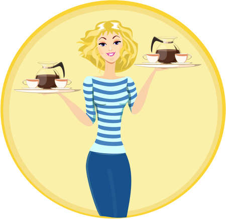 Girl Waitress Carrying a Tray with Cups of Coffee and Tea, Vector Vector