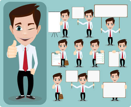 set of businessman: Collection of office worker with posters